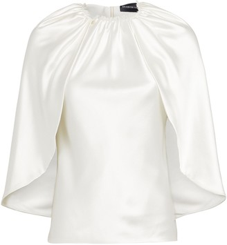 Brandon Maxwell Silk Satin Cape Blouse