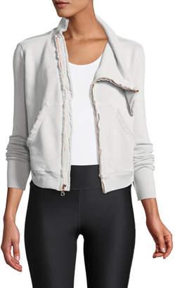 Frank And Eileen Frayed Zip-Front Fleece Jacket