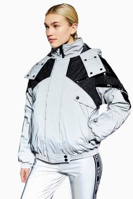 Topshop Womens **Reflective Jacket By Sno - Silver