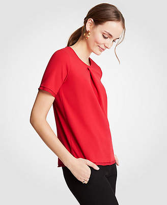 Ann Taylor Petite Box Pleat Tee