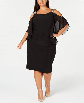 Xscape Evenings Plus Size Rhinestone Cold-Shoulder Sheath Dress