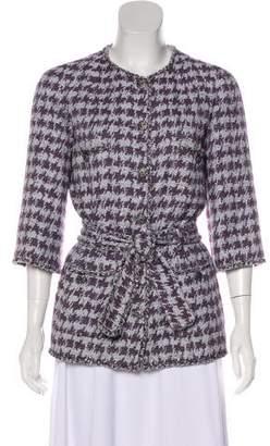 Chanel Belted Houndstooth Jacket