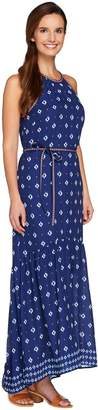 C. Wonder Border Print Halter Dress w/ Embroidered Belt & Trim
