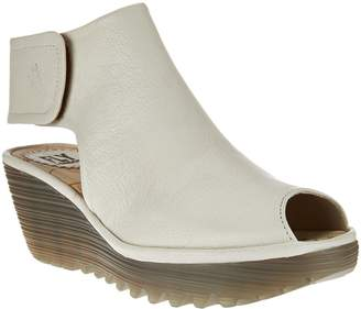 Fly London Peep-Toe Leather Wedge Sandals - Yone