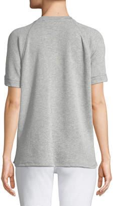 MICHAEL Michael Kors Lace-Front Short-Sleeve Sweater