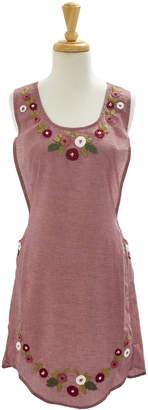 Sur La Table Pink Embroidered Rose Apron