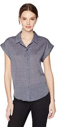 Lucky Brand Women's Short Sleeve Button UP TOP
