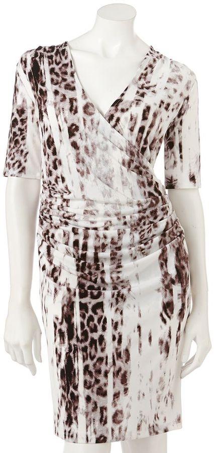 JLO by Jennifer Lopez leopard faux-wrap dress