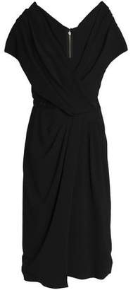 Vionnet Wrap-Effect Satin-Trimmed Crepe Dress
