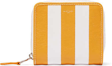 Balenciaga  Balenciaga - Striped Textured-leather Wallet - Yellow