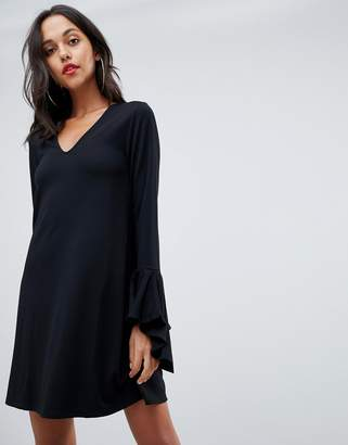 Asos DESIGN mini shift dress in ponte with long sleeves and frill cuffs