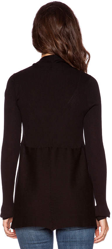 Autumn Cashmere Solid Rib Drape Cardigan