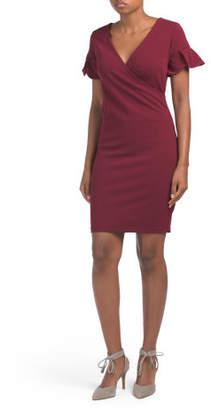 Tulip Sleeve Crepe Dress