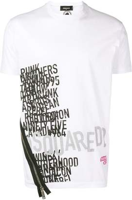 DSQUARED2 printed T-shirt with side zip