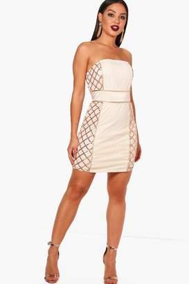boohoo Sequin Panel Bandeau Dress