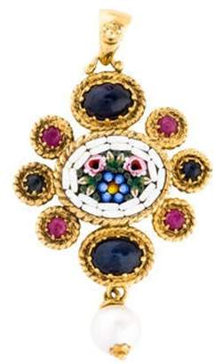 Tagliamonte Pearl, Ruby & Sapphire Mosaic Drop Pendant Pearl, Ruby & Sapphire Mosaic Drop Pendant