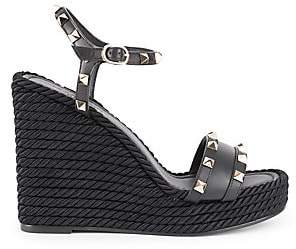 Valentino Garavani Women's Rockstud Torchon Leather Espadrille Wedge Sandals