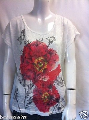 Forever 21 Young Womens New T Shirt Sexy Flower Sz S Beige Floral Burnout