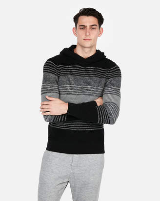 Express Stripe Cable Knit Hooded Sweater