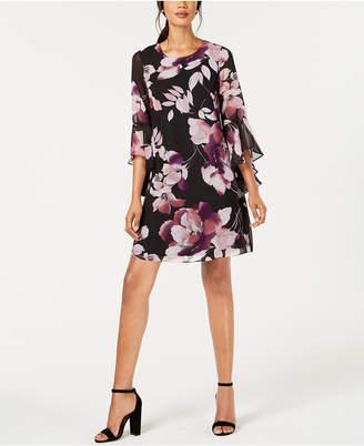 Nine West Floral Chiffon Bell-Sleeve Dress