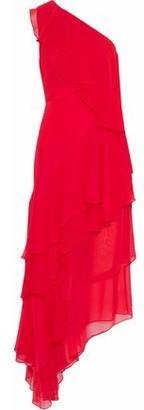 Alice + Olivia Ruffled One-shoulder Silk-chiffon Midi Dress