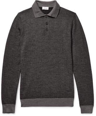 Brioni Herringbone Virgin Wool-Blend Polo Shirt