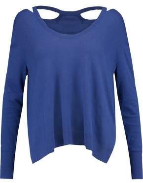 Halston Cutout Stretch-Knit Sweater