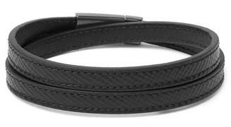 Prada Cross-Grain Leather And Gunmetal-Tone Wrap Bracelet