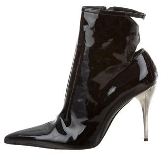 Versace Patent Leather Cutout Ankle Boots $160 thestylecure.com