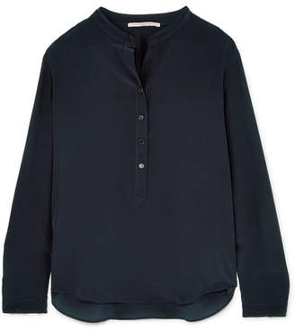 Stella McCartney Eva Silk Crepe De Chine Blouse - Midnight blue