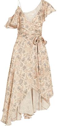 Zimmermann - Ruffled Floral-print Silk-satin Wrap Dress - Cream $850 thestylecure.com