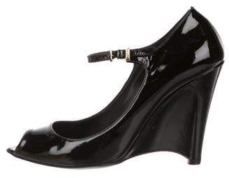 Fendi Patent Leather Ankle-Strap Wedges