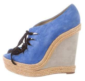 Christian Louboutin Suede Woven Jute-Trimmed Wedges