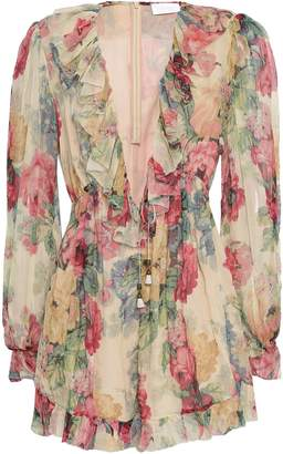 Zimmermann Melody Floral-print Silk-georgette Playsuit