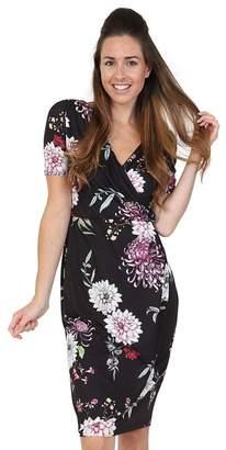 Lady Vintage - Black Winter Chrysanthemum Jersey Sarong Dress