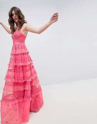 Needle & Thread Iris Layered Embroidered Cami Maxi Dress In Hot Pink