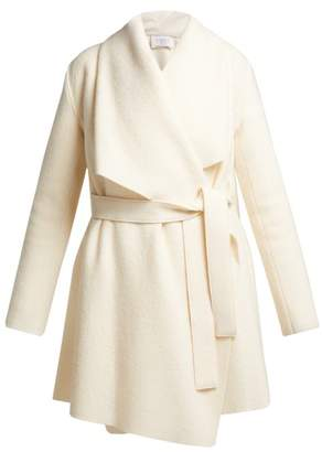 Harris Wharf London Single Breasted Draped Wool Coat - Womens - Cream