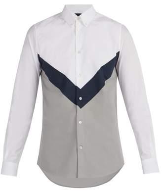 Stella McCartney Chevron Insert Cotton Shirt - Mens - White Multi