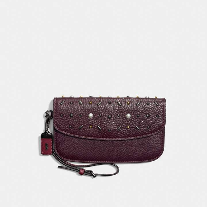Coach New YorkCoach Clutch With Prairie Rivets - BLACK COPPER/OXBLOOD - STYLE