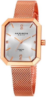 Akribos XXIV Women's Stainless Steel Diamond Watch