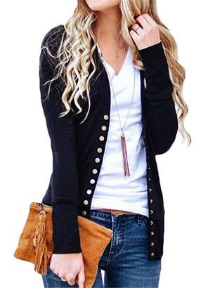 UUYUK Women V-Neck Button Down Long Sleeve Knit Snap Cardigan Sweater US M