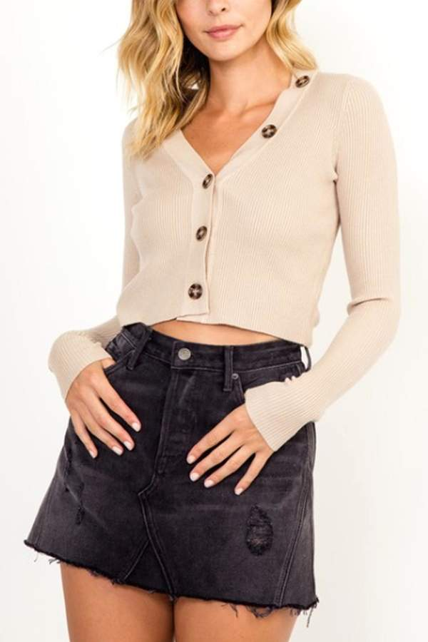 Button Cropped Sweater