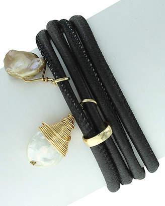 Sparkling Sage Plated Pearl Wrap Bracelet