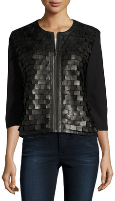 Grayse Leather-Paneled Armour Jacket, Black $449 thestylecure.com
