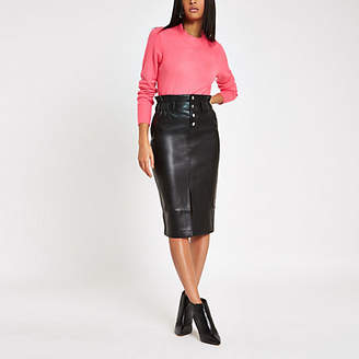 River Island Black button front high waist pencil skirt