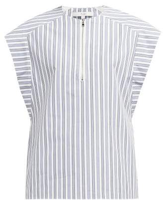 Tibi Liam Striped Cotton Top - Womens - Light Blue