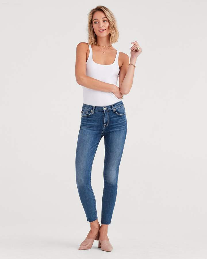 7 For All Mankind b(air) Denim High Waist Ankle Skinny with Cut Off Hem in Authentic Luck