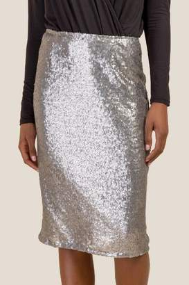 francesca's Justine Allover Sequin Pencil Skirt - Silver