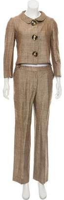 Oscar de la Renta Wide-Leg Silk-Linen Pantsuit
