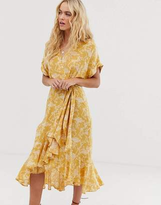 And other stories &  cloud print ruffled wrap dress in yellow